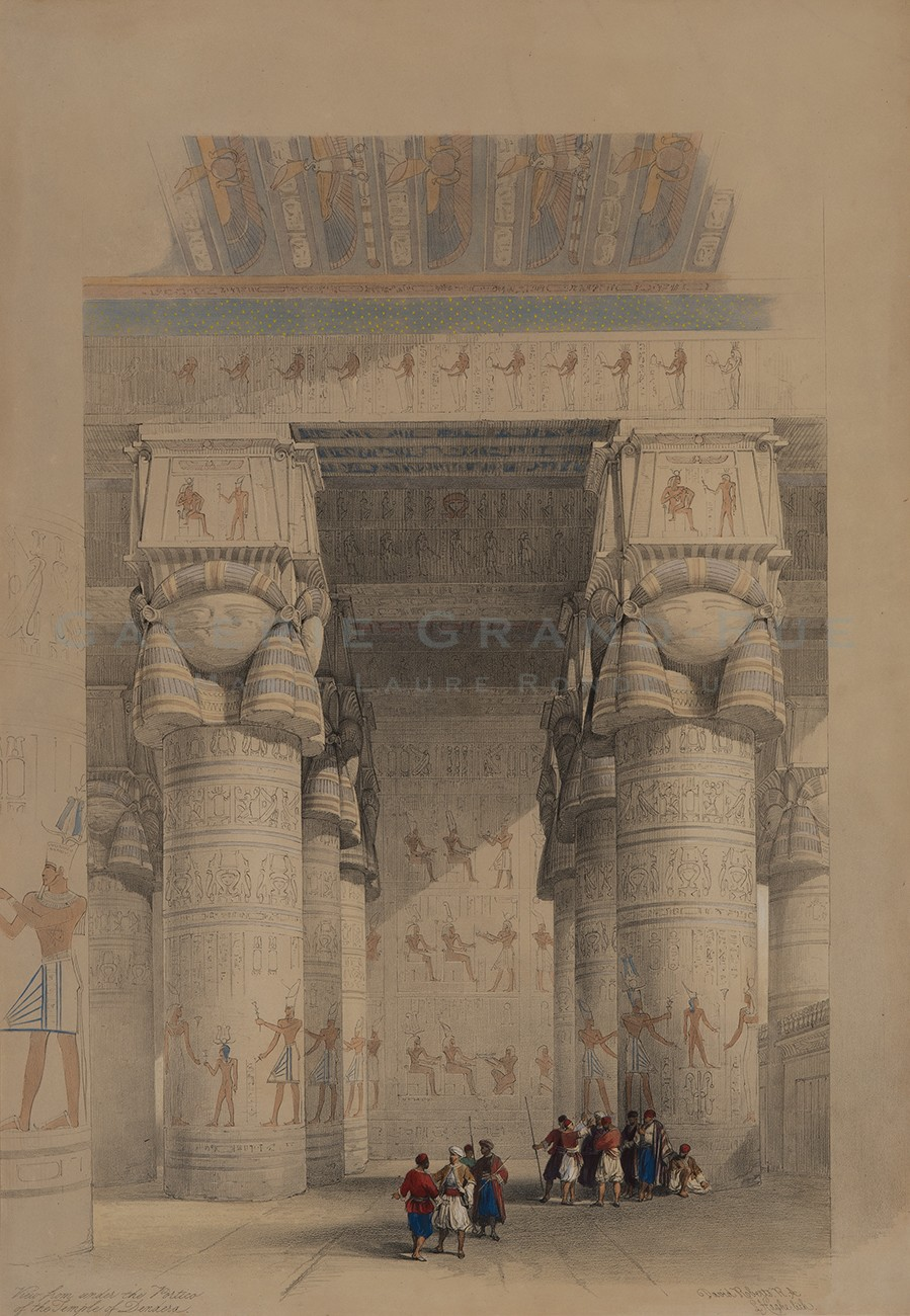View from under the Portico of the Temple of Dendera.